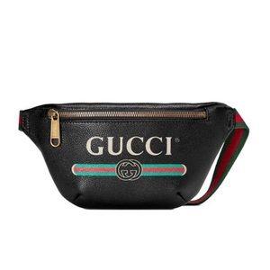 Gucci unisex's Size 90 Logo Print Black belt bag
